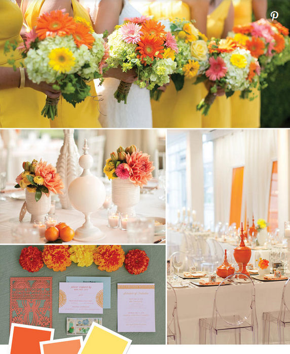 wedding colour combo ideas oranges and yellow