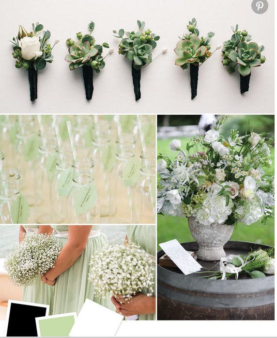wedding ideas in mint green and black