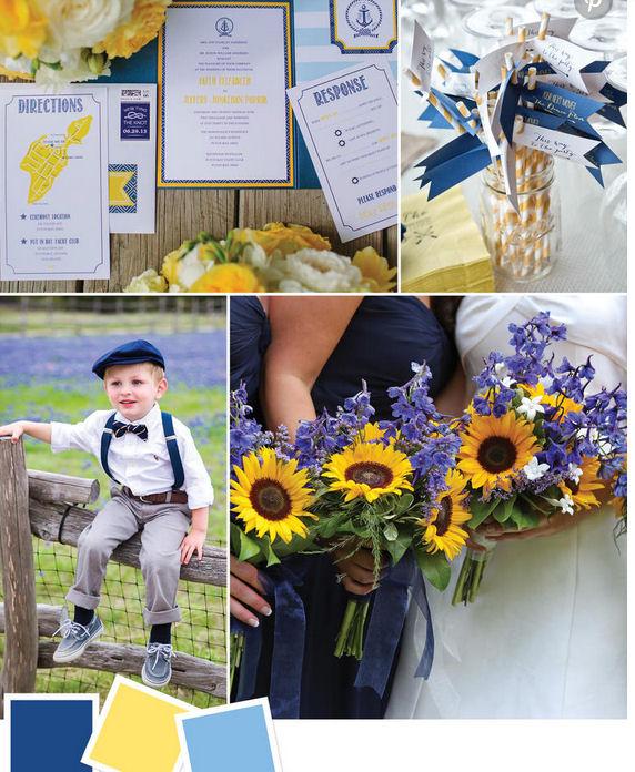 navy yellow and blue wedding idea