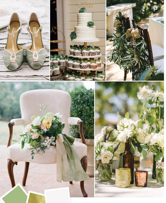 Sage green gold and ivory wedding idea colours
