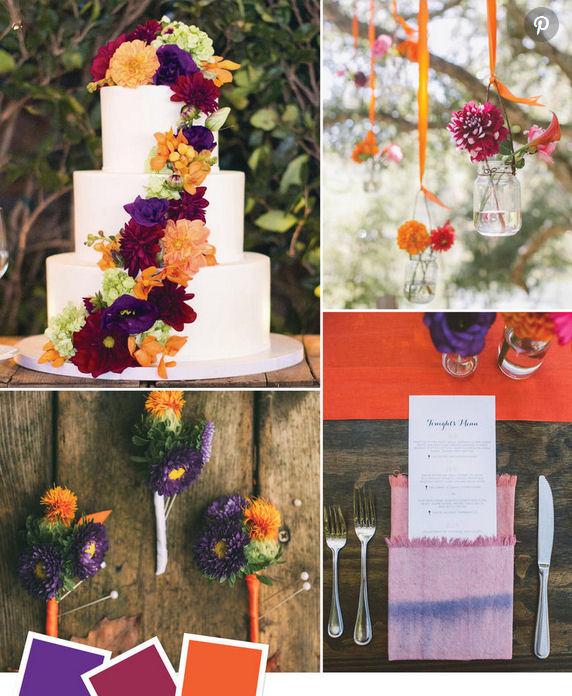 Purple burgundy and orange wedding themed ideas
