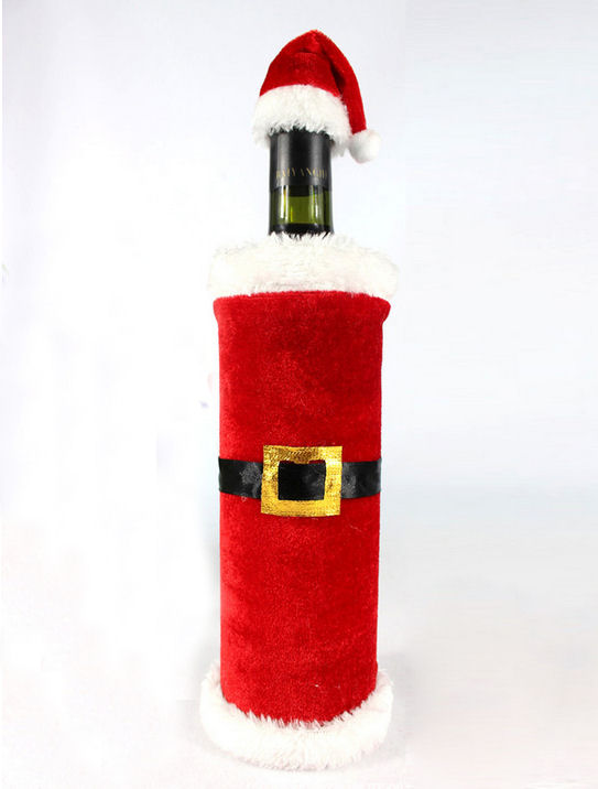 Santa Themed Christmas Wine Bottle Cover with Cute Hat