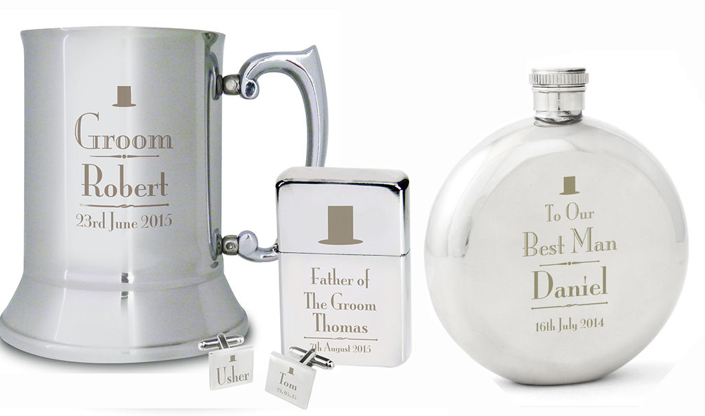 Personalised mens wedding gifts Usher Best Man Groom and more
