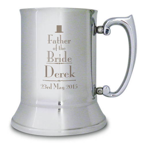 Decorative Wedding Stainless Steel Tankard - Best Man, Groom, Usher and mor
