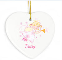 Personalised Angel Ceramic Heart Decoration