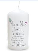 Personalised Wedding Gift Mr & Mrs Candle