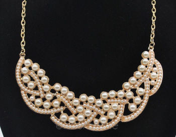Pearl and Rose Gold Collar Style Necklace