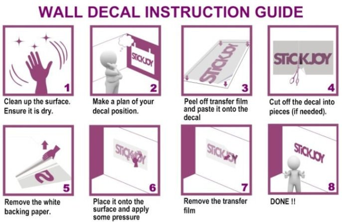 Wall art sticker instruction guide