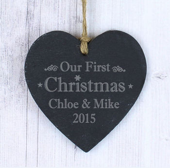 Personalised Our First Christmas Slate Heart