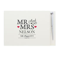 Personalised Mr and Mrs Guestbook and Pen