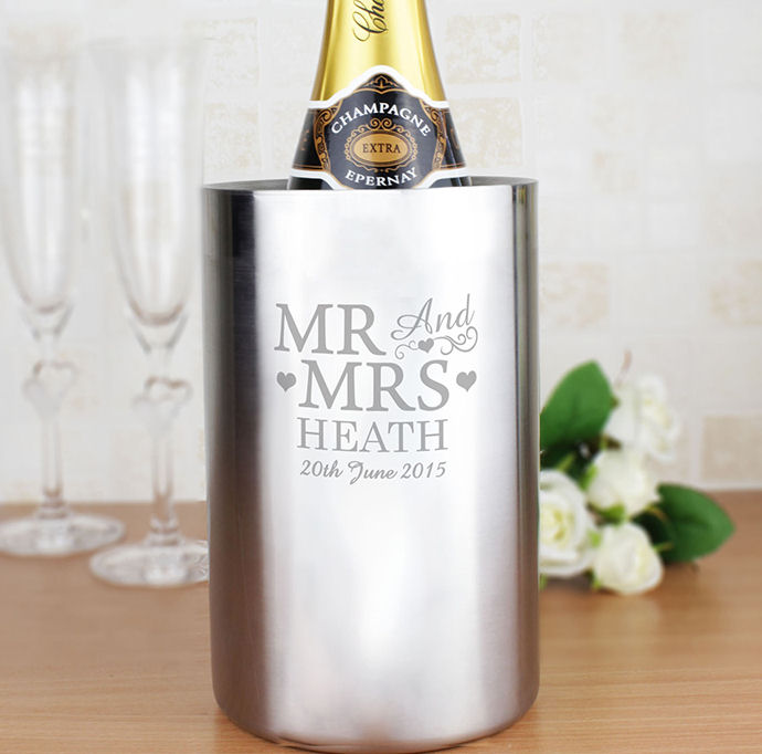 Personalised Mr & Mrs Stainless Steel Wine Cooler