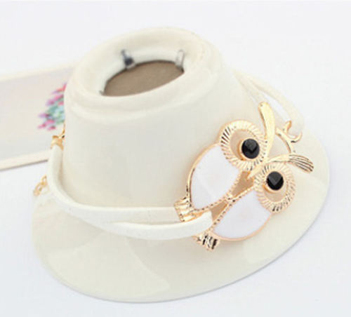 White and Gold Owl Themed Bracelet