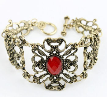 Gothic Style Antique Gold Bracelet with Chunky Red Gemstone