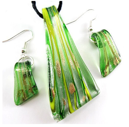 Handcrafted Dichroic Green Glass Earrings and Necklace Set