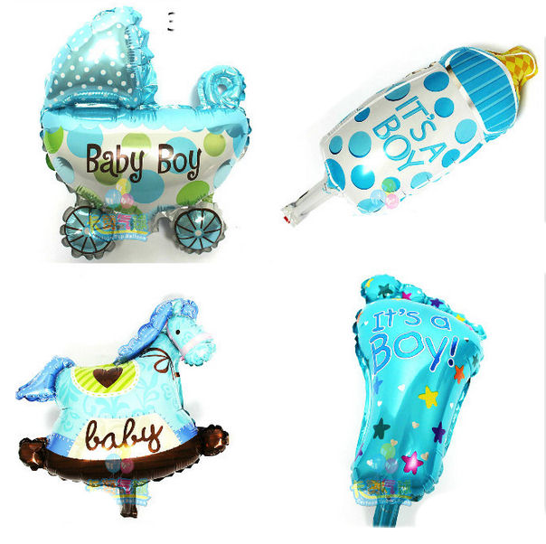"Set of 4 New Baby Themed Foil Balloons - 12"" Size, It's A Boy Themed"