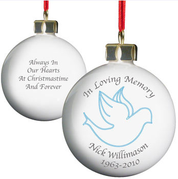 Personalised In Loving Memory Bauble - Choice of Angel or Dove in Pink or Blue
