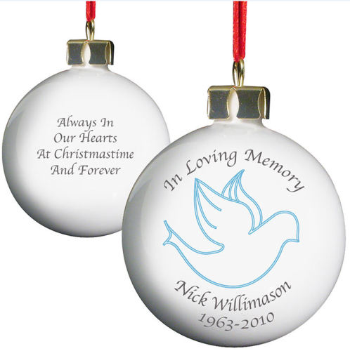 Personalised In Loving Memory Bauble - Choice of Angel or Dove in Pink or B