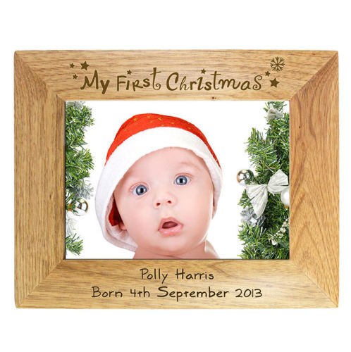 Personalised My First Christmas 6x4 Wooden Frame