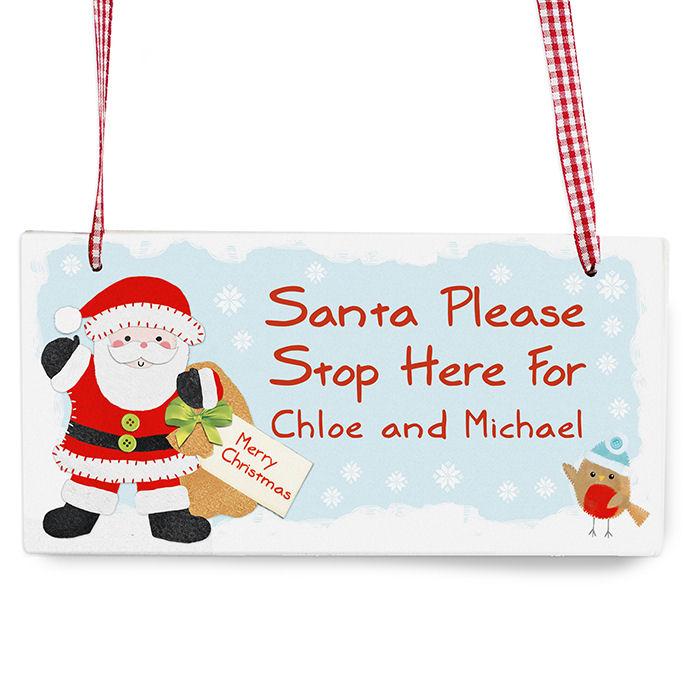 Personalised Santa Stop Here Wooden Sign
