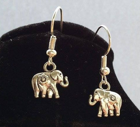 Elephant Earrings in Silver - Small with stunning detailing