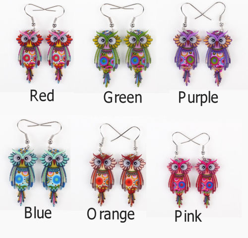 Colourful Owl Earrings - Cute Design