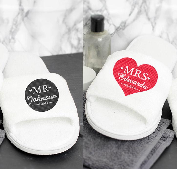 Personalised Pair of Mr or Mrs Slippers