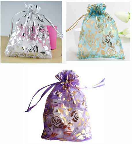 Sample Pack of 2 Floral Design Organza Bags - 9cms x 12cm, White, Blue or L