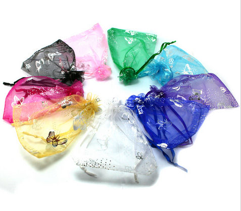 Sample of 2 Butterfly Design Organza Bags - 9cms x 12cms - Assorted Shades