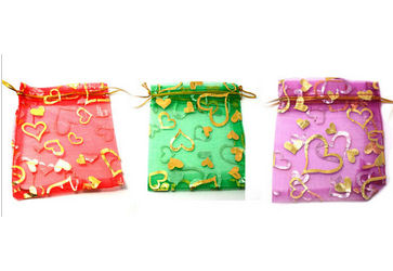 Sample of 2 Hearts Design Organza Bags - 9cms x 12cms, Red, Green or Pink