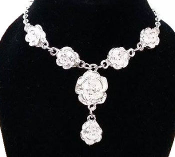 Silver Floral Drop Style Necklace