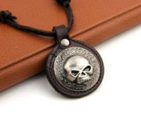 Mens Motorcycle Themed Leather Corded Necklace