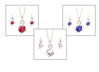 Swan Design Gemstone Necklace & Earring Gift Set in Crystal, Royal Blue or Red