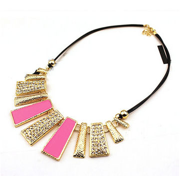 Neon Pink and Gold Trendy Necklace with Sparkly Detailing