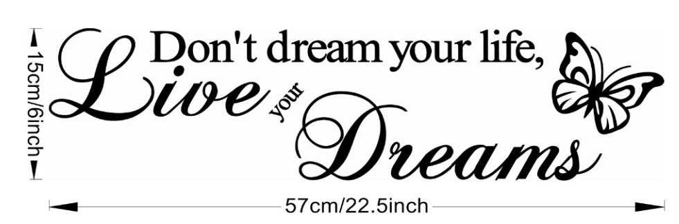 Live Your Dreams Butterfly Vinyl Wall Art Stickers