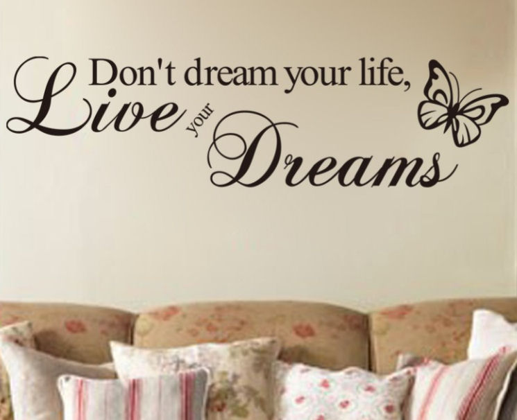 Don't Dream Your Life, Live Your Dreams Butterfly Vinyl Wall Art Stickers