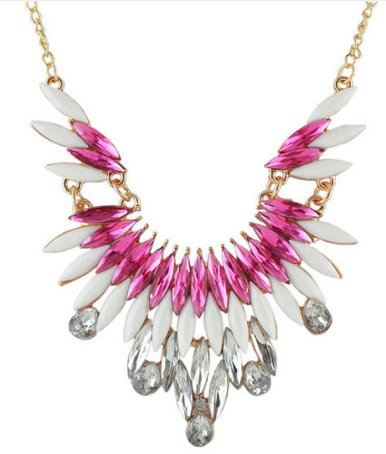 Pink and White Gemstone Wing Style Gold Necklace