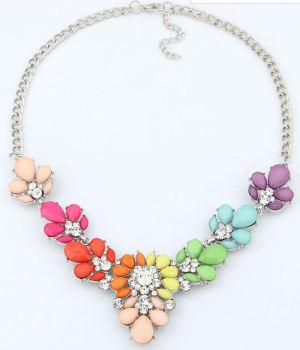 Rainbow Necklace with Rhinestone and Silver detailing