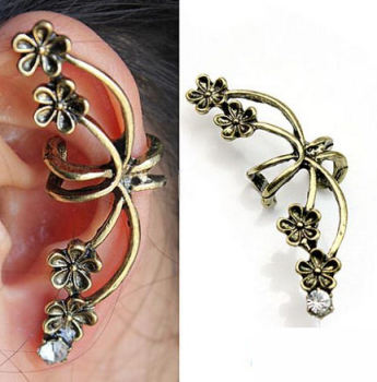Gothic Floral Cuff Style Earring in Antique Gold