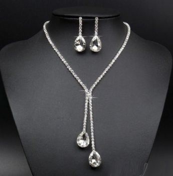 Silver Bridal Rhinestone Necklace with Matching Earrings