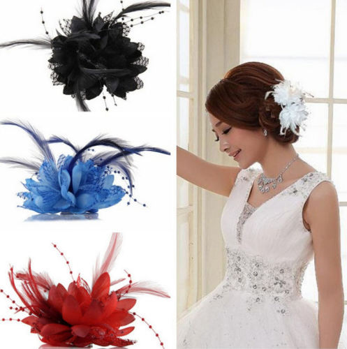 Floral Corsage Style Hair Clip Accessory with Feathers and Bead Detail