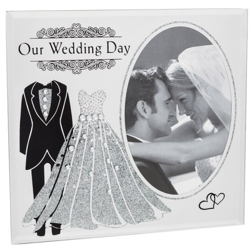 Our Wedding Day Mirrored Photo Frame with Glitter and Rhinestone detail