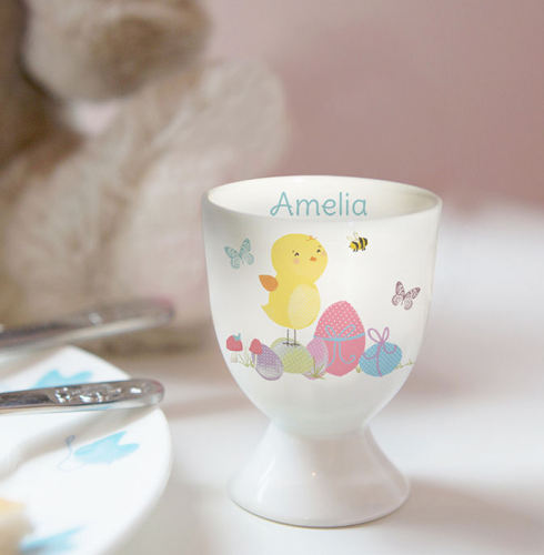Personalised Easter Meadow Bunny Egg Cup in Chick or Bunny