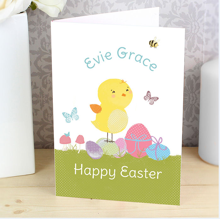 Personalised Easter Meadow Chick or Bunny Card