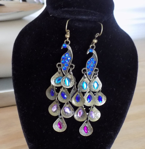 Peacock Earrings with Stunning Multicoloured Gems
