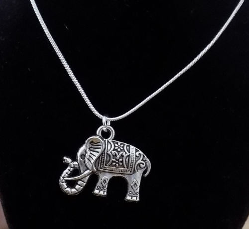 Elephant Pendant Necklace - Handcrafted