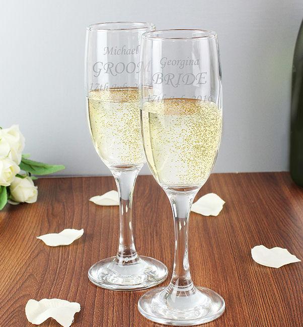 Personalised Celebration Glasses Engraved Flutes