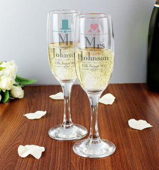 Personalised Glasses Mr and Mrs Design