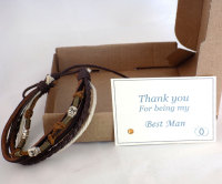 Best Man Thank You Gift, Men's Leather Bracelet