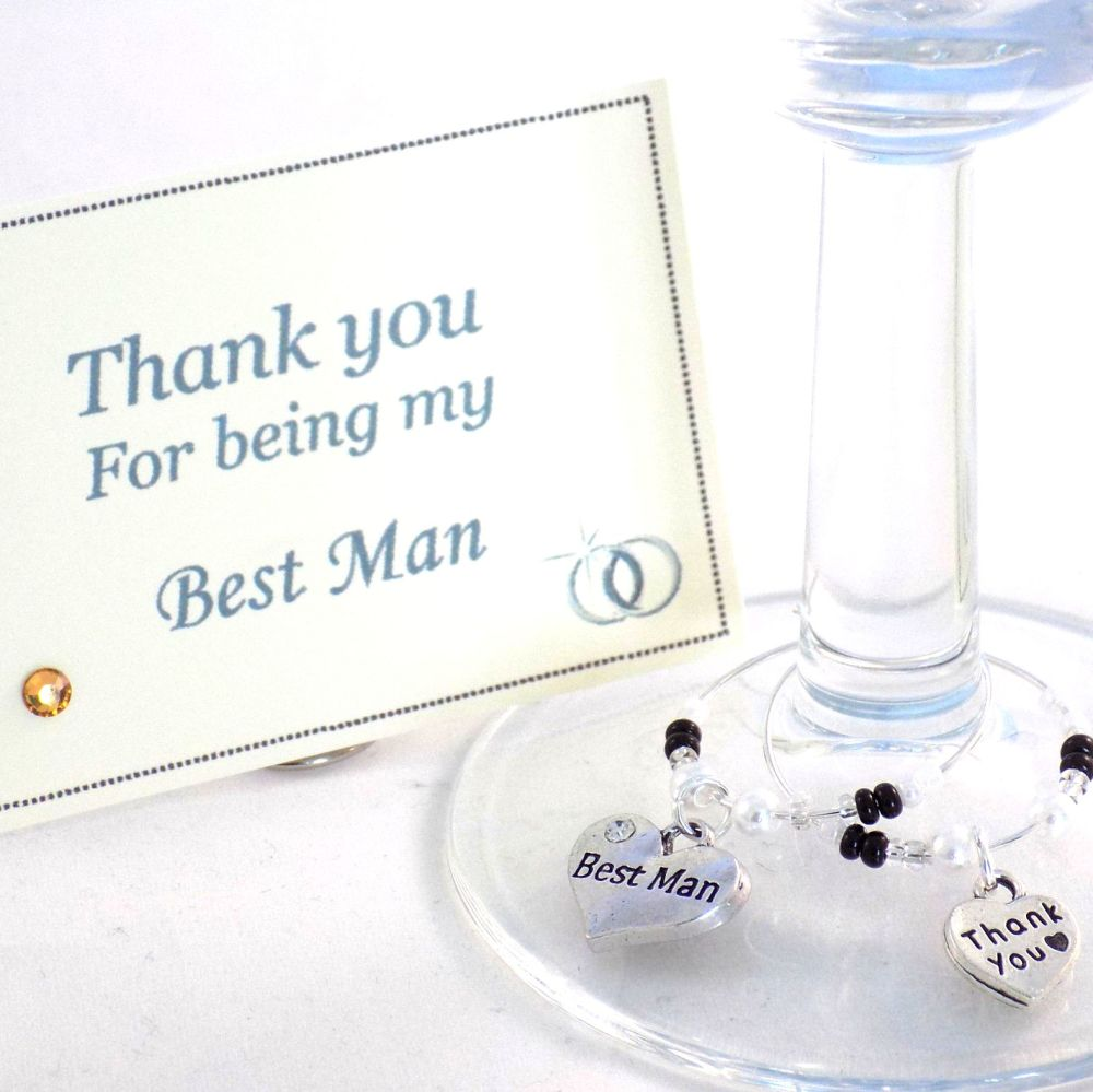 Thank you Best Man, Personalised Wine Glass Charms