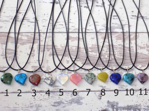 Quartz heart necklace choice of shades including rose quartz and clear quar